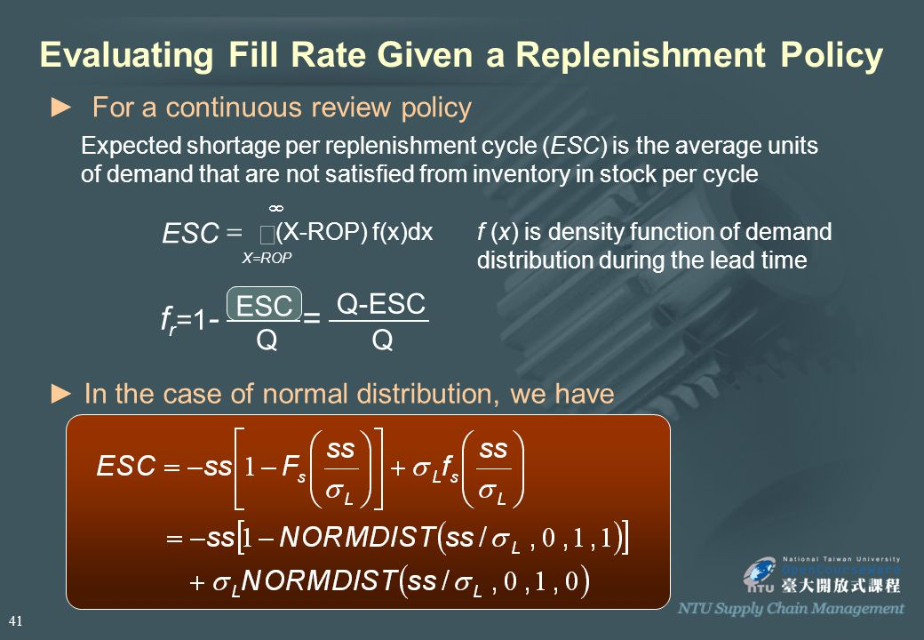 Evaluating Fill Rate Given a Replenishment Policy f (x) is density function of demand distribution during the lead time f r =1 - = ► In the case of normal distribution, we have ESC X=ROP    (X-ROP) f(x)dx ► For a continuous review policy Expected shortage per replenishment cycle (ESC) is the average units of demand that are not satisfied from inventory in stock per cycle ESC Q Q-ESC Q 41