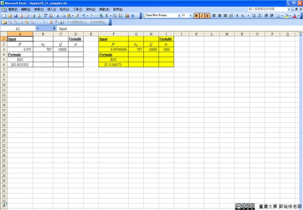 Excel-Demo For a continuous review system with the following data 5Lot size,Q=10,000   D L =5,000    L = 707 >ss=ROP-DL=6,000-5,000=1,000 >ESC= -1,000[1-NORMDIST(1000/707,0,1,1)] f r = =0.9975 10,000 10,000-25 +707xNORMDIST(1000/707,0,1,1) =25 臺灣大學 郭瑞祥老師 43