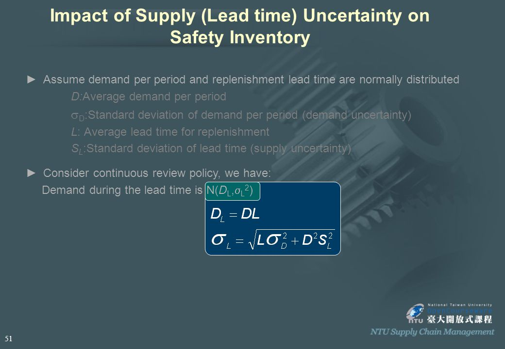 Impact of Supply (Lead time) Uncertainty on Safety Inventory ►Assume demand per period and replenishment lead time are normally distributed D:Average demand per period  D :Standard deviation of demand per period (demand uncertainty) L: Average lead time for replenishment S L :Standard deviation of lead time (supply uncertainty) ►Consider continuous review policy, we have: Demand during the lead time is N(D L,  L 2 ) 51