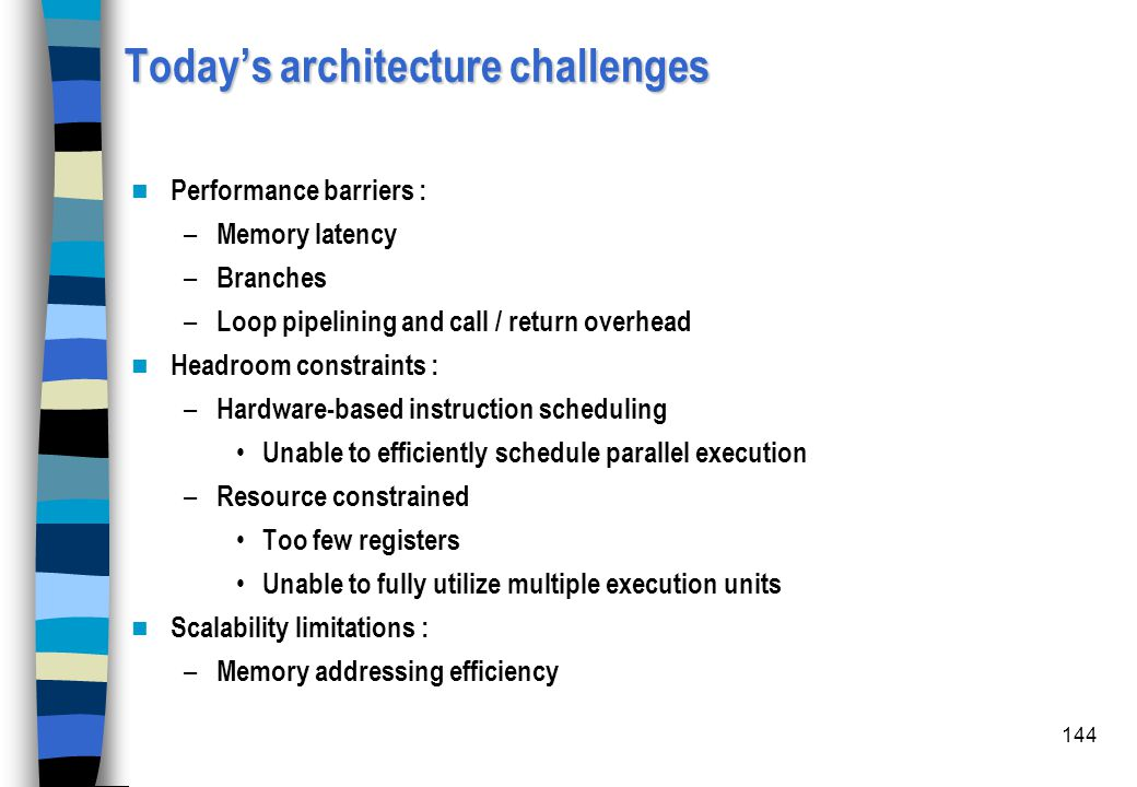 144 Today's architecture challenges Performance barriers : – Memory latency – Branches – Loop pipelining and call / return overhead Headroom constrain