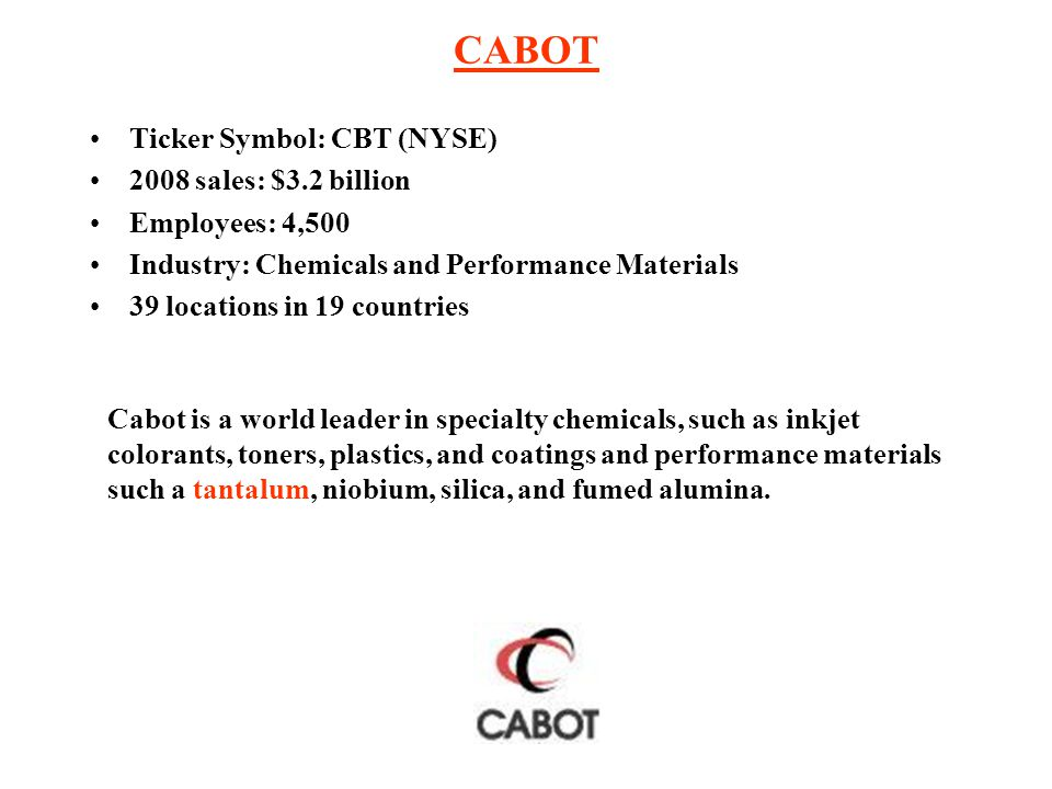 CABOT Ticker Symbol: CBT (NYSE) 2008 sales: $3.2 billion Employees: 4,500 Industry: Chemicals and Performance Materials 39 locations in 19 countries C
