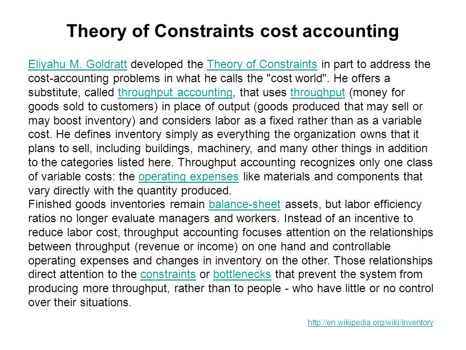 Theory of Constraints cost accounting Eliyahu M. GoldrattEliyahu M.