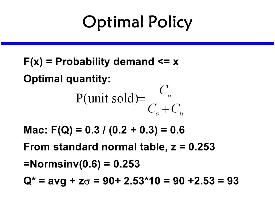 Optimal Policy F(x) = Probability demand <= x Optimal quantity: Mac: F(Q) = 0.3 / (0.2 + 0.3) = 0.6 From standard normal table, z = 0.253 =Normsinv(0.