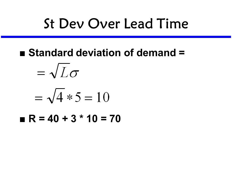 St Dev Over Lead Time n Standard deviation of demand = n R = 40 + 3 * 10 = 70