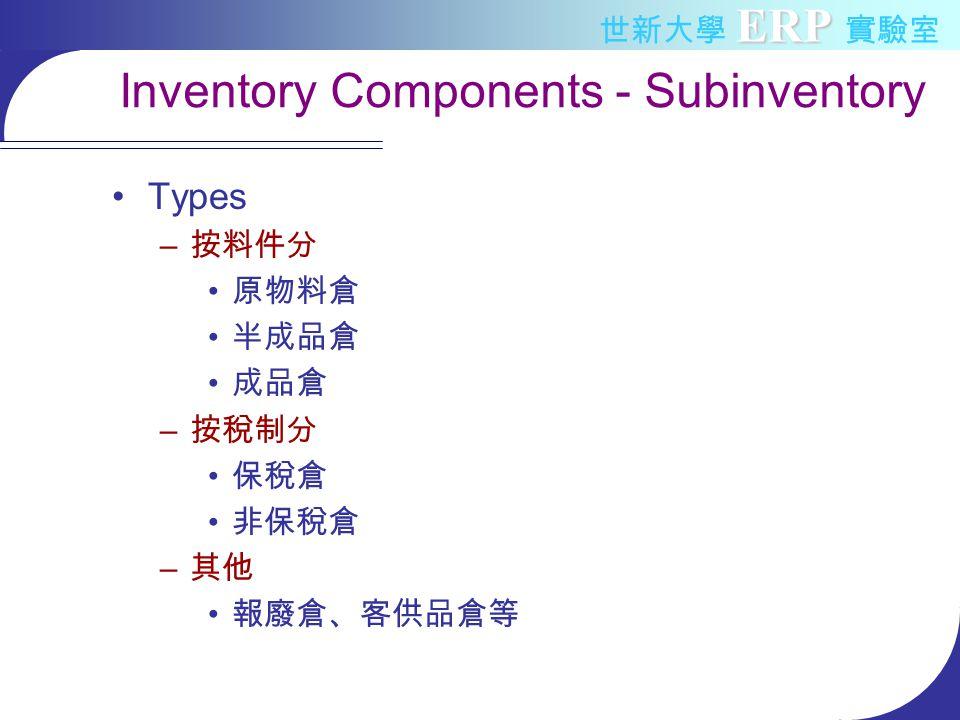 ERP 世新大學 ERP 實驗室 Inventory Components - Subinventory Types – 按料件分 原物料倉 半成品倉 成品倉 – 按稅制分 保稅倉 非保稅倉 – 其他 報廢倉、客供品倉等