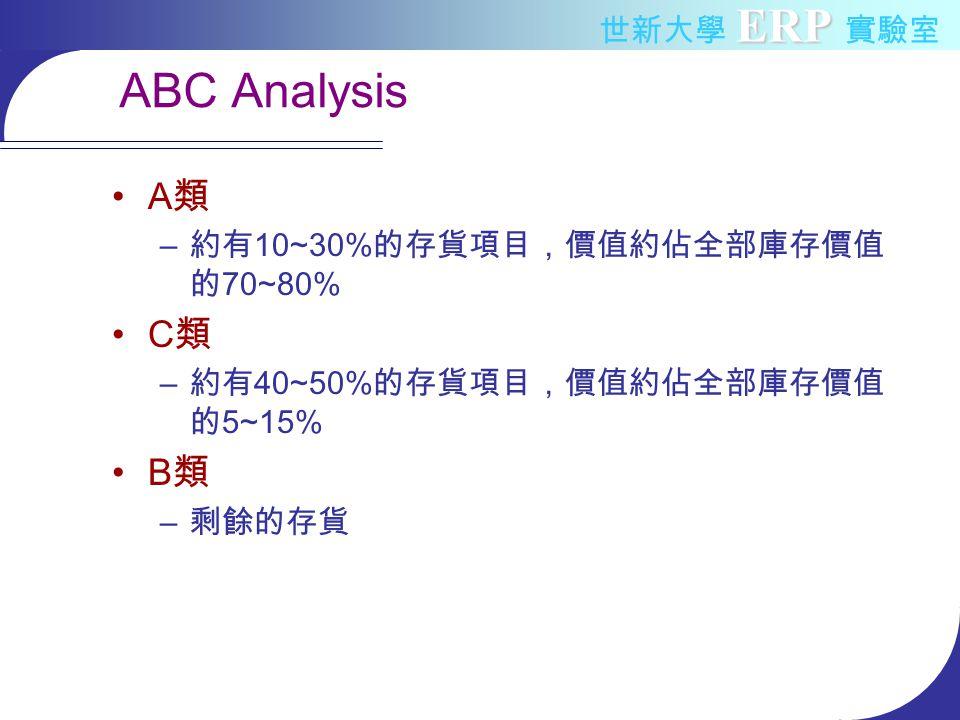 ERP 世新大學 ERP 實驗室 ABC Analysis A 類 – 約有 10~30% 的存貨項目,價值約佔全部庫存價值 的 70~80% C 類 – 約有 40~50% 的存貨項目,價值約佔全部庫存價值 的 5~15% B 類 – 剩餘的存貨