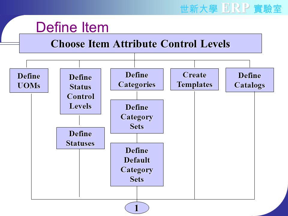 ERP 世新大學 ERP 實驗室 Define Item DefineUOMsDefineStatusControlLevels DefineStatuses DefineCategories DefineCategorySets DefineDefaultCategorySets CreateTemplates DefineCatalogs Choose Item Attribute Control Levels 1