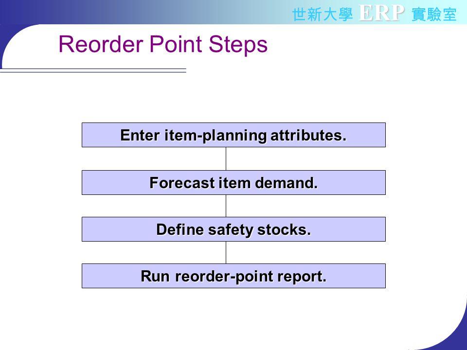 ERP 世新大學 ERP 實驗室 Reorder Point Steps Enter item-planning attributes.