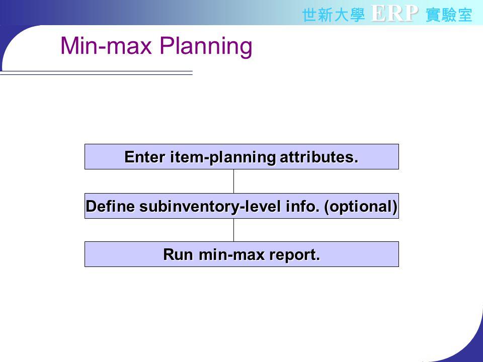 ERP 世新大學 ERP 實驗室 Min-max Planning Enter item-planning attributes.