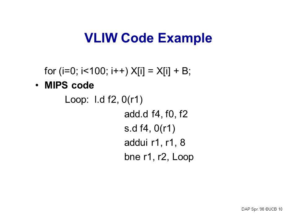 DAP Spr.'98 ©UCB 10 VLIW Code Example for (i=0; i<100; i++) X[i] = X[i] + B; MIPS code Loop:l.d f2, 0(r1) add.d f4, f0, f2 s.d f4, 0(r1) addui r1, r1, 8 bne r1, r2, Loop