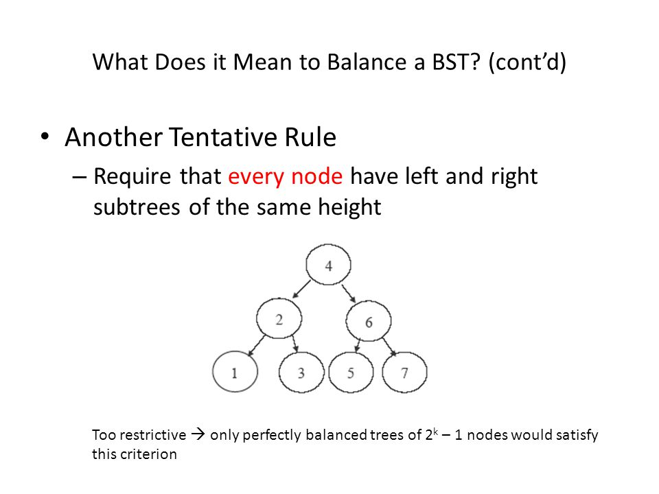 Fixing Imbalances (cont'd)  Fixing an imbalance is done by rotating the tree  There are two types of rotation: single rotation  for CASE 1 imbalances double rotation  for CASE 2 imbalances  consists of two single rotations  The rotations must always preserve the BST property