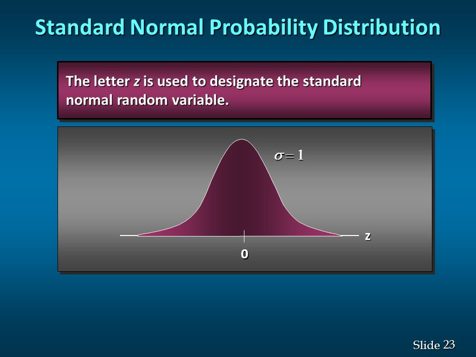 23 Slide  0 z The letter z is used to designate the standard The letter z is used to designate the standard normal random variable. normal random