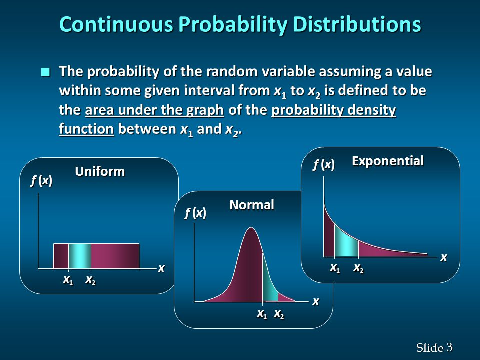3 3 Slide Continuous Probability Distributions n The probability of the random variable assuming a value within some given interval from x 1 to x 2 is