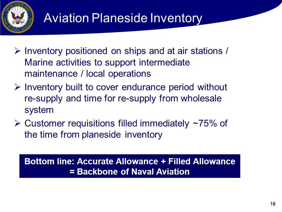 16 Aviation Planeside Inventory  Inventory positioned on ships and at air stations / Marine activities to support intermediate maintenance / local operations  Inventory built to cover endurance period without re-supply and time for re-supply from wholesale system  Customer requisitions filled immediately ~75% of the time from planeside inventory Bottom line: Accurate Allowance + Filled Allowance = Backbone of Naval Aviation