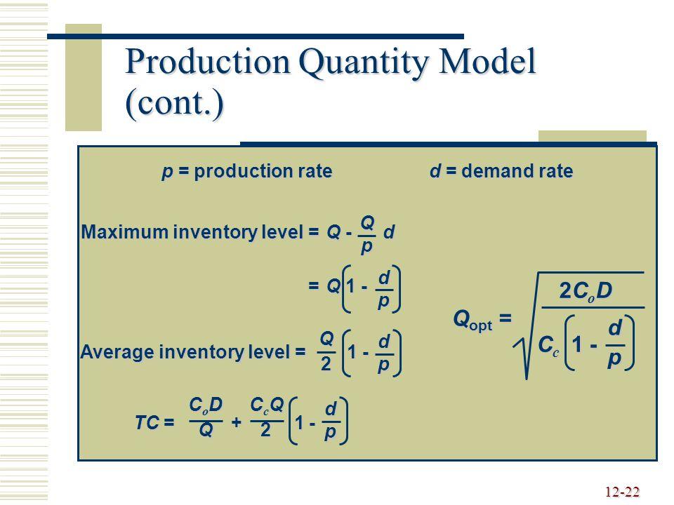 12-22 Production Quantity Model (cont.) p = production rated = demand rate Maximum inventory level =Q - d =Q 1 - Qp dp Average inventory level = 1 - Q