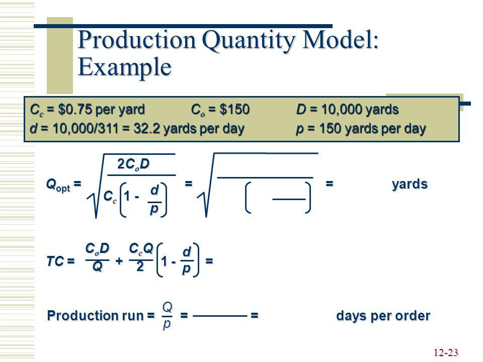 12-23 Production Quantity Model: Example C c = $0.75 per yardC o = $150D = 10,000 yards d = 10,000/311 = 32.2 yards per dayp = 150 yards per day Q opt