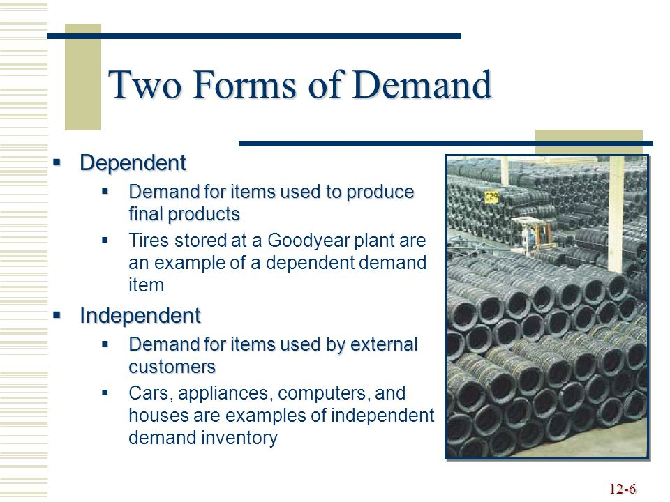 12-6 Two Forms of Demand  Dependent  Demand for items used to produce final products   Tires stored at a Goodyear plant are an example of a dependent demand item  Independent  Demand for items used by external customers   Cars, appliances, computers, and houses are examples of independent demand inventory