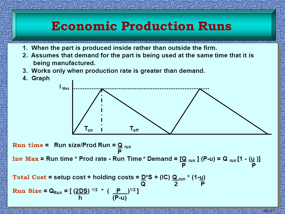 Inv-17 Economic Production Runs 1. When the part is produced inside rather than outside the firm. 2. Assumes that demand for the part is being used at