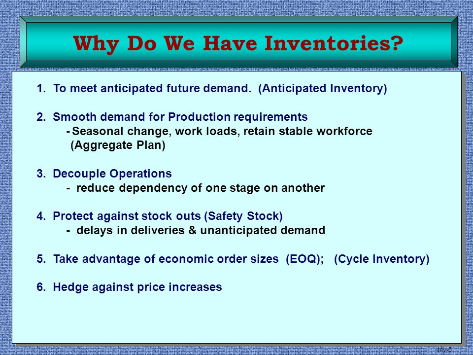 Inv-5 1. To meet anticipated future demand. (Anticipated Inventory) 2. Smooth demand for Production requirements -Seasonal change, work loads, retain