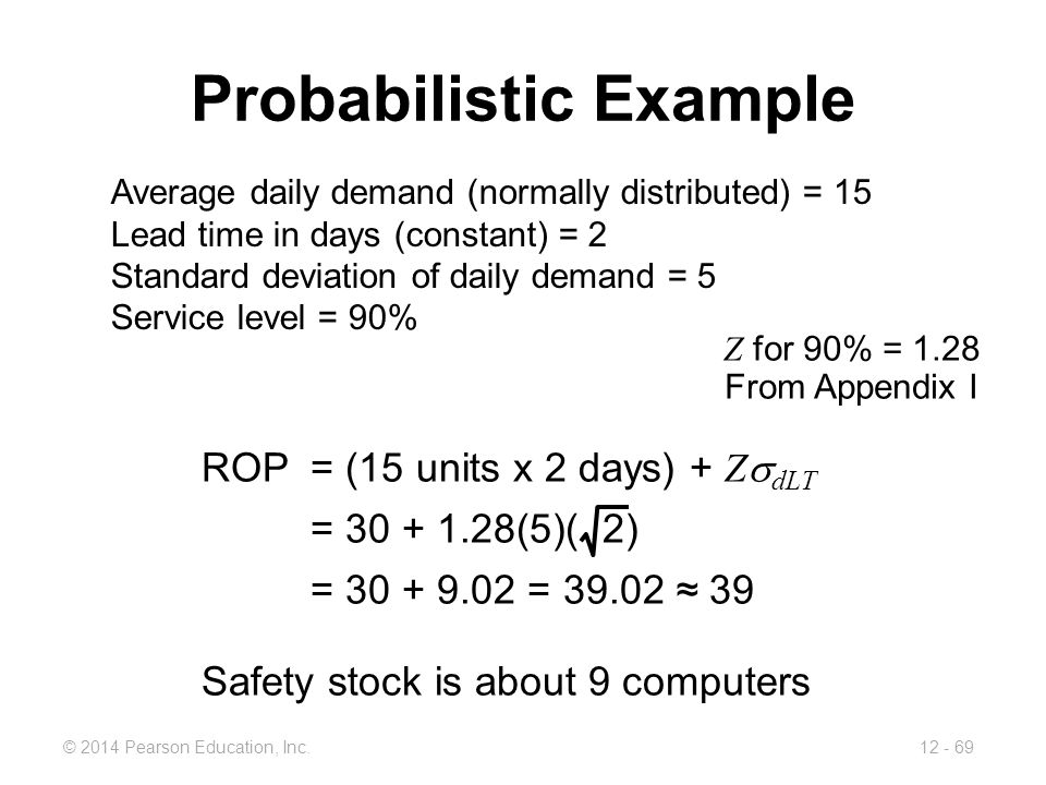 12 - 69© 2014 Pearson Education, Inc. Probabilistic Example Average daily demand (normally distributed) = 15 Lead time in days (constant) = 2 Standard