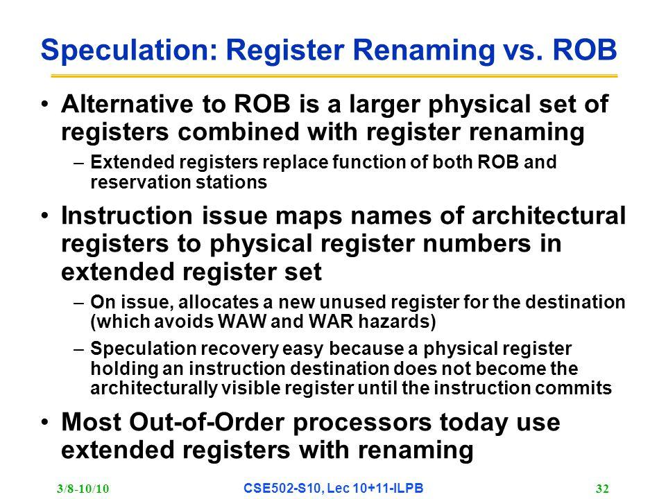 3/8-10/10 CSE502-S10, Lec 10+11-ILPB 32 Speculation: Register Renaming vs.