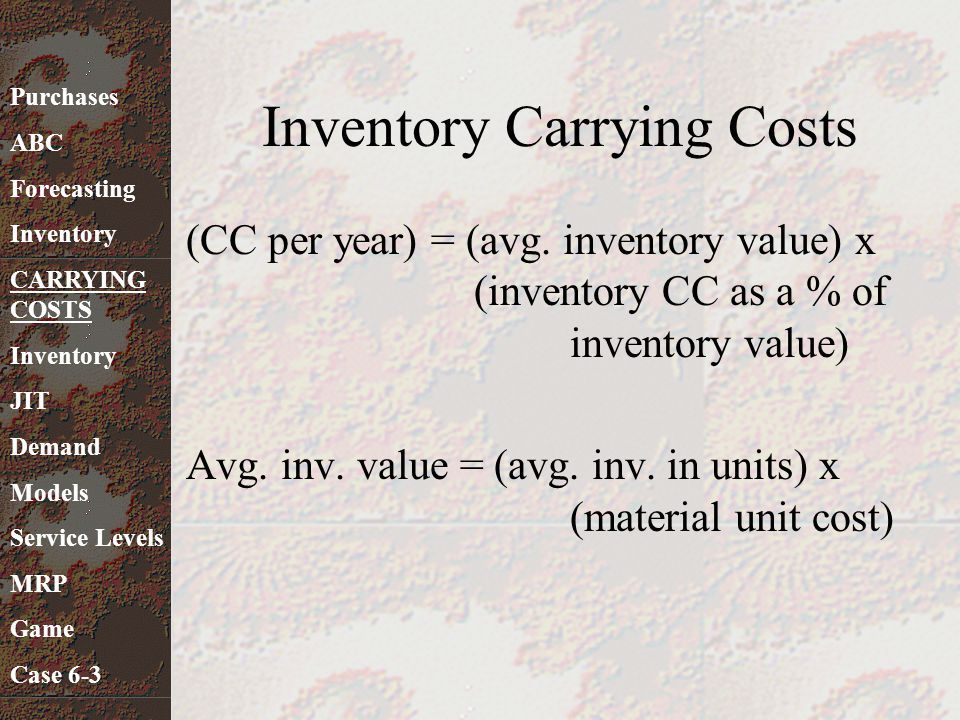 Inventory Carrying Costs (CC per year) = (avg. inventory value) x (inventory CC as a % of inventory value) Avg. inv. value = (avg. inv. in units) x (m