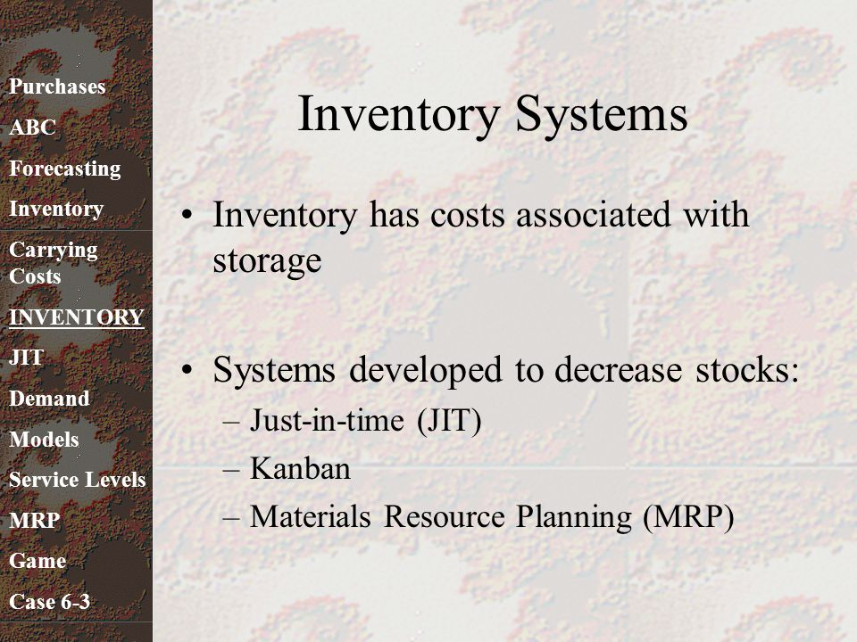 Inventory Systems Inventory has costs associated with storage Systems developed to decrease stocks: –Just-in-time (JIT) –Kanban –Materials Resource Pl