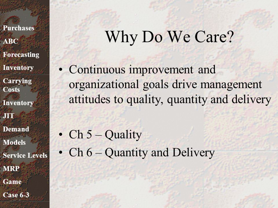 Why Do We Care? Continuous improvement and organizational goals drive management attitudes to quality, quantity and delivery Ch 5 – Quality Ch 6 – Qua