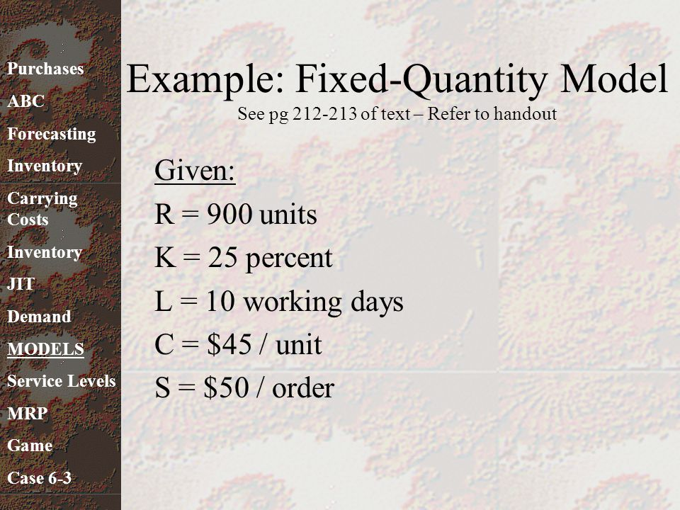 Example: Fixed-Quantity Model See pg 212-213 of text – Refer to handout Given: R = 900 units K = 25 percent L = 10 working days C = $45 / unit S = $50