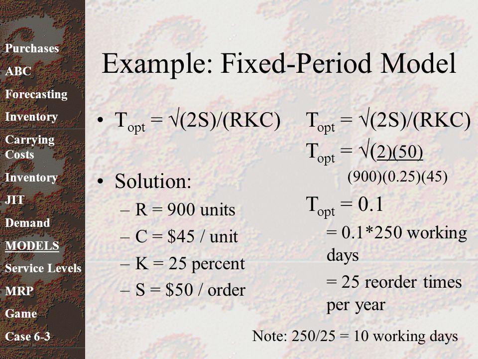 T opt =  (2S)/(RKC) Solution: –R = 900 units –C = $45 / unit –K = 25 percent –S = $50 / order Example: Fixed-Period Model T opt =  (2S)/(RKC) T opt