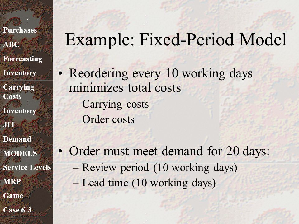 Example: Fixed-Period Model Reordering every 10 working days minimizes total costs –Carrying costs –Order costs Order must meet demand for 20 days: –R