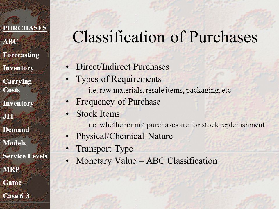 Classification of Purchases Direct/Indirect Purchases Types of Requirements –i.e. raw materials, resale items, packaging, etc. Frequency of Purchase S