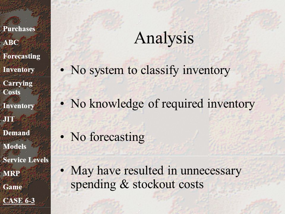 Analysis No system to classify inventory No knowledge of required inventory No forecasting May have resulted in unnecessary spending & stockout costs