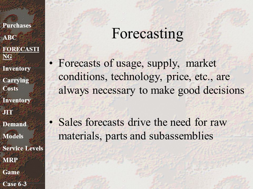 Forecasting Forecasts of usage, supply, market conditions, technology, price, etc., are always necessary to make good decisions Sales forecasts drive