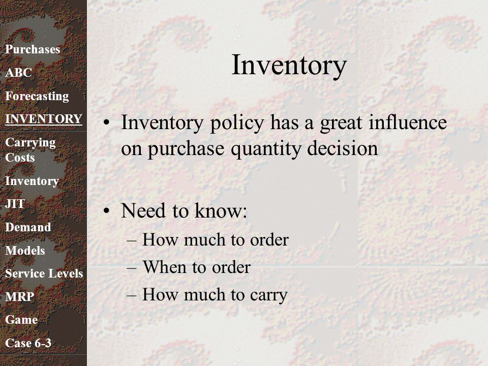 Inventory Costs Main types of inventory costs –Carrying Costs –Holding Costs –Possession Costs Other costs –Ordering or Purchase Costs –Setup Costs –Stockout Costs –Price Variation Costs Purchases ABC Forecasting INVENTORY Carrying Costs Inventory JIT Demand Models Service Levels MRP Game Case 6-3