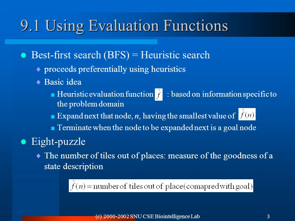 (c) 2000-2002 SNU CSE Biointelligence Lab3 9.1 Using Evaluation Functions Best-first search (BFS) = Heuristic search  proceeds preferentially using heuristics  Basic idea  Heuristic evaluation function : based on information specific to the problem domain  Expand next that node, n, having the smallest value of  Terminate when the node to be expanded next is a goal node Eight-puzzle  The number of tiles out of places: measure of the goodness of a state description