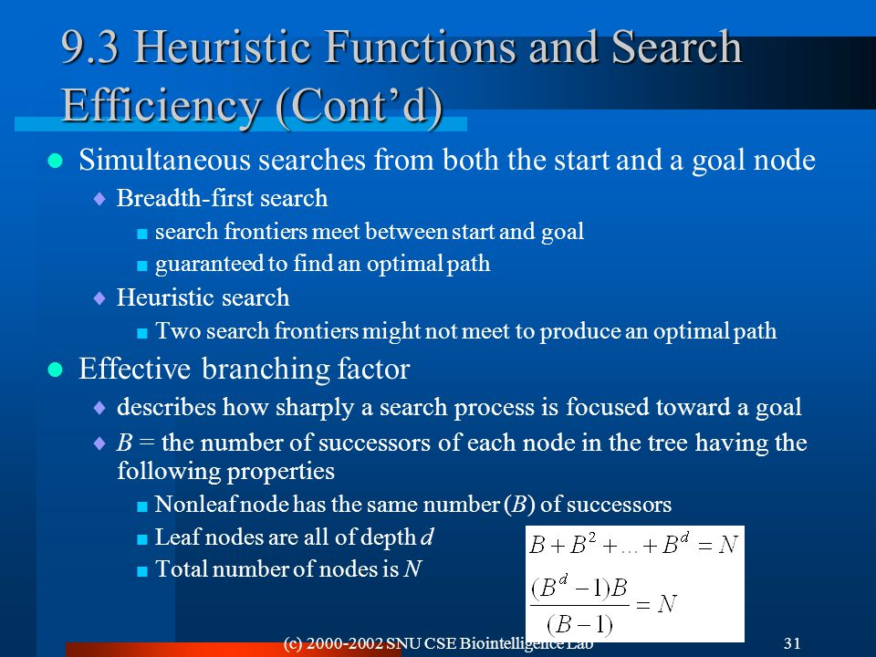 (c) 2000-2002 SNU CSE Biointelligence Lab31 9.3 Heuristic Functions and Search Efficiency (Cont'd) Simultaneous searches from both the start and a goal node  Breadth-first search  search frontiers meet between start and goal  guaranteed to find an optimal path  Heuristic search  Two search frontiers might not meet to produce an optimal path Effective branching factor  describes how sharply a search process is focused toward a goal  B = the number of successors of each node in the tree having the following properties  Nonleaf node has the same number (B) of successors  Leaf nodes are all of depth d  Total number of nodes is N