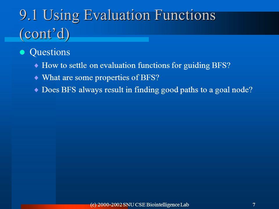 (c) 2000-2002 SNU CSE Biointelligence Lab28 Figure 9.9 Recursive Best-First Search
