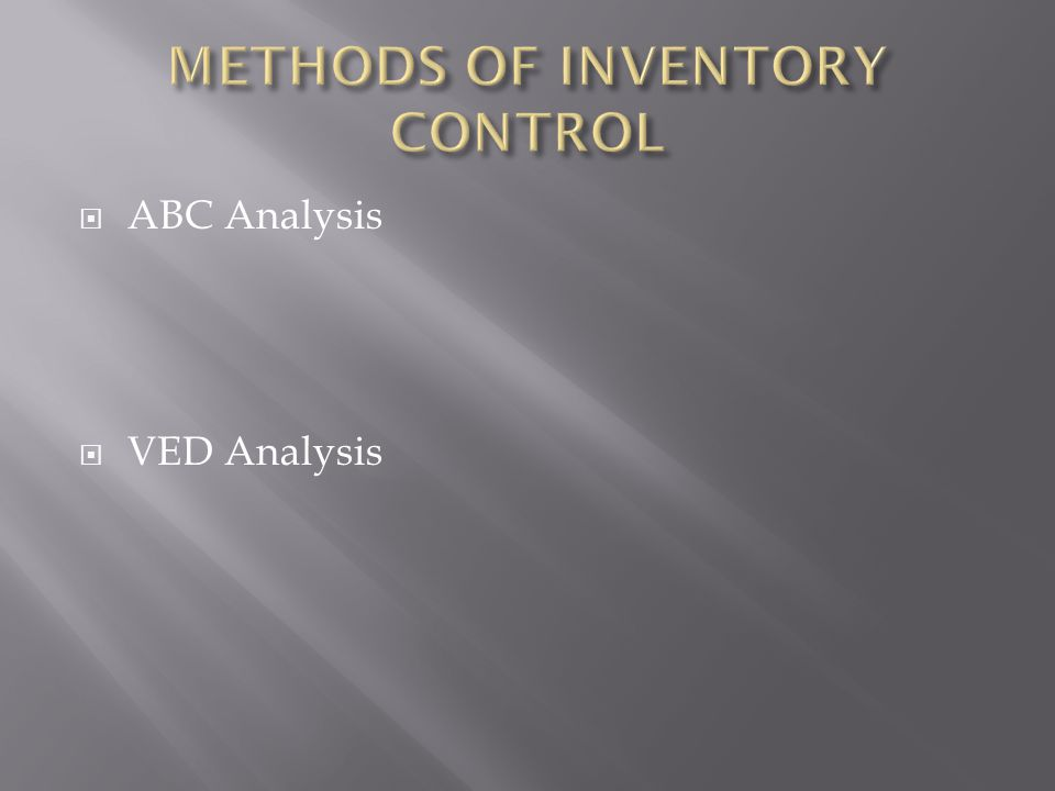  ABC Analysis  VED Analysis