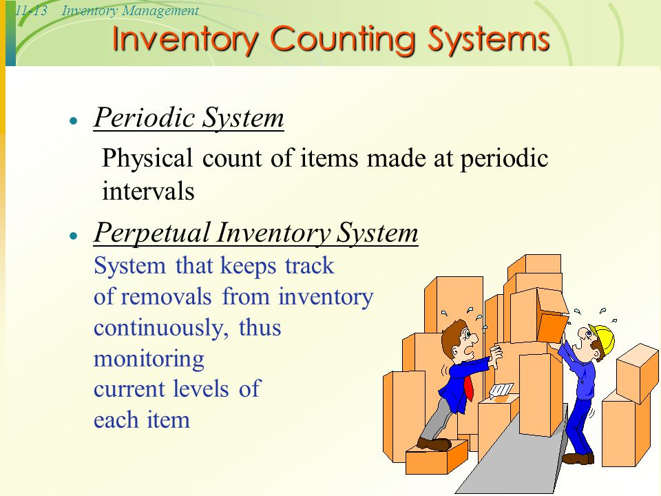 11-13Inventory Management Inventory Counting Systems  Periodic System Physical count of items made at periodic intervals  Perpetual Inventory System