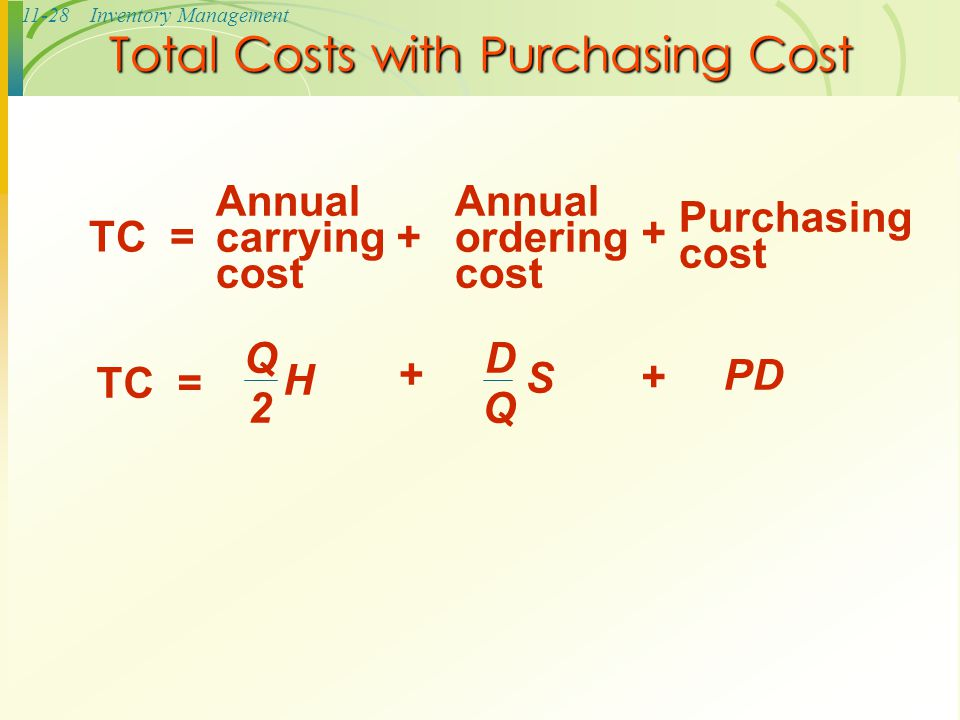 11-28Inventory Management Total Costs with Purchasing Cost Annual carrying cost Purchasing cost TC =+ Q 2 H D Q S + + Annual ordering cost PD +