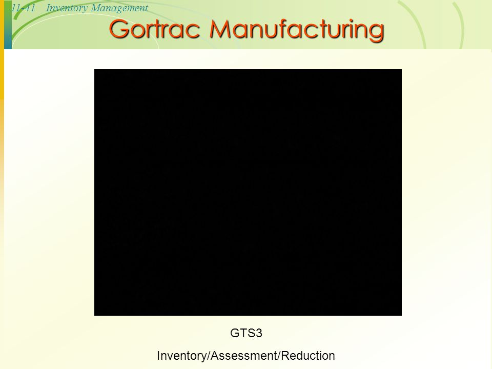 11-41Inventory Management Gortrac Manufacturing GTS3 Inventory/Assessment/Reduction
