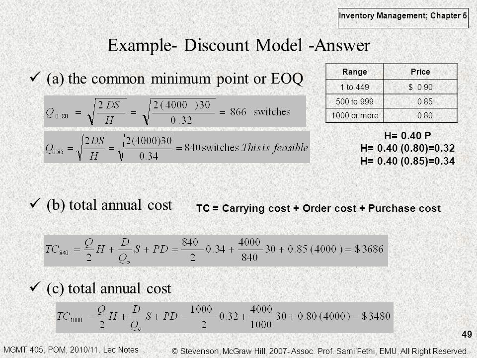 MGMT 405, POM, 2010/11. Lec Notes © Stevenson, McGraw Hill, 2007- Assoc. Prof. Sami Fethi, EMU, All Right Reserved. Inventory Management; Chapter 5 49