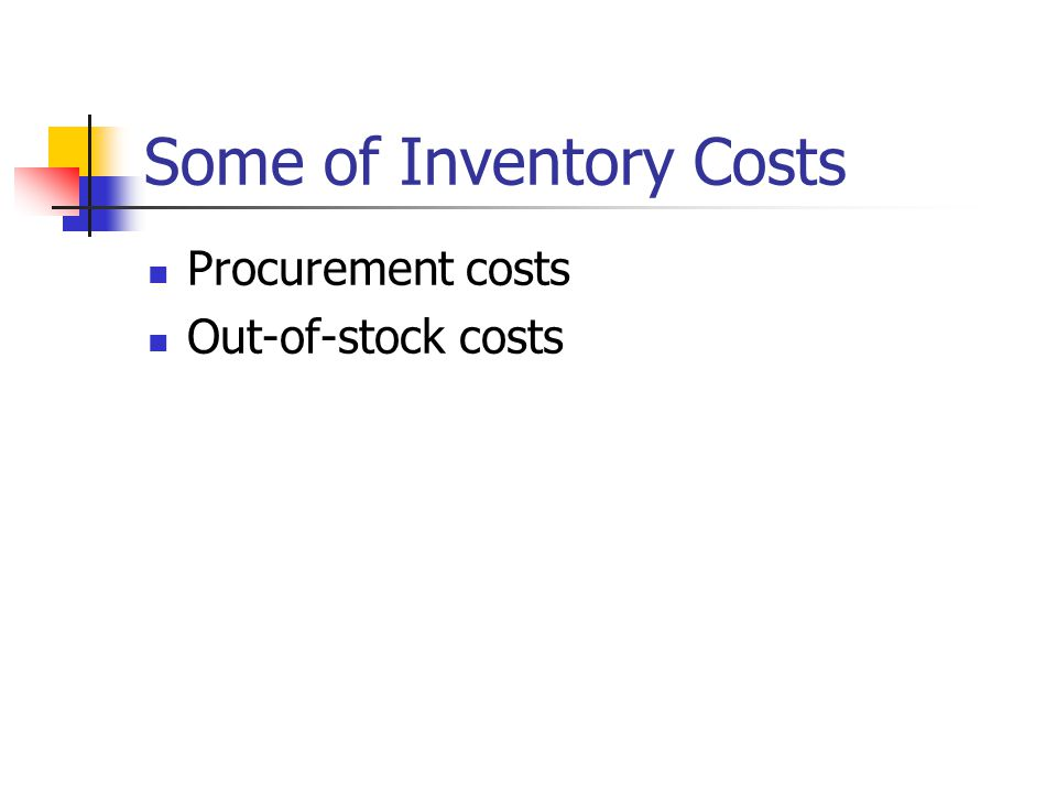 Some of Inventory Costs Procurement costs Out-of-stock costs