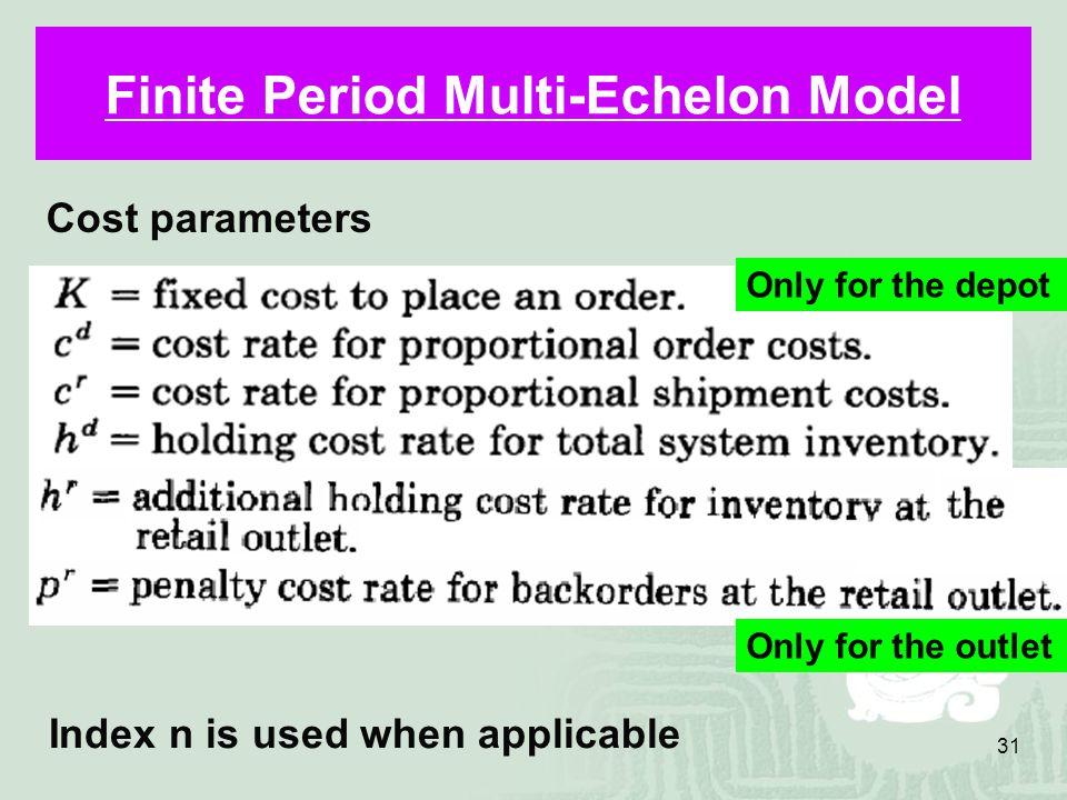 31 Finite Period Multi-Echelon Model Cost parameters Index n is used when applicable Only for the depot Only for the outlet
