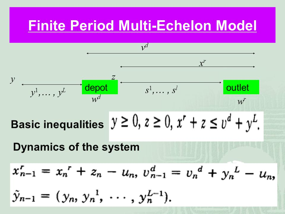 34 Finite Period Multi-Echelon Model Basic inequalities Dynamics of the system depotoutlet xrxr vdvd y 1,…, y L y z s 1,…, s l wdwd wrwr