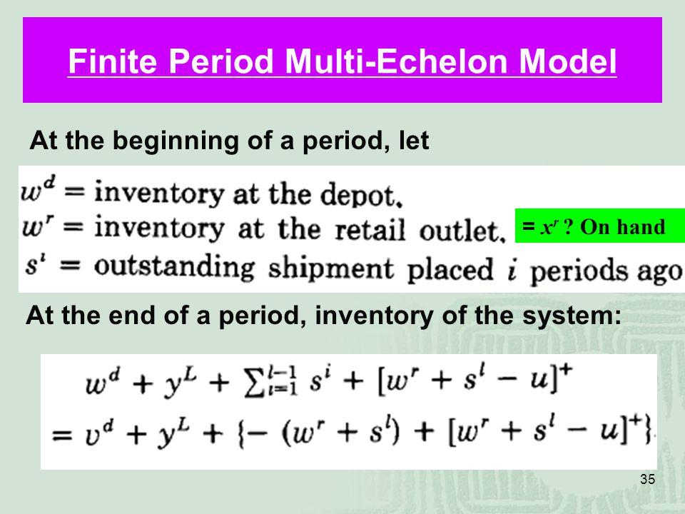 35 Finite Period Multi-Echelon Model At the beginning of a period, let At the end of a period, inventory of the system: = x r .