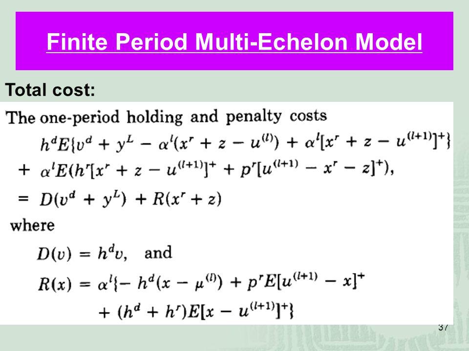 37 Finite Period Multi-Echelon Model Total cost: