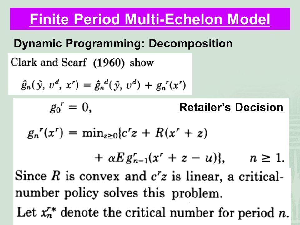 40 Finite Period Multi-Echelon Model Dynamic Programming: Decomposition Retailer's Decision