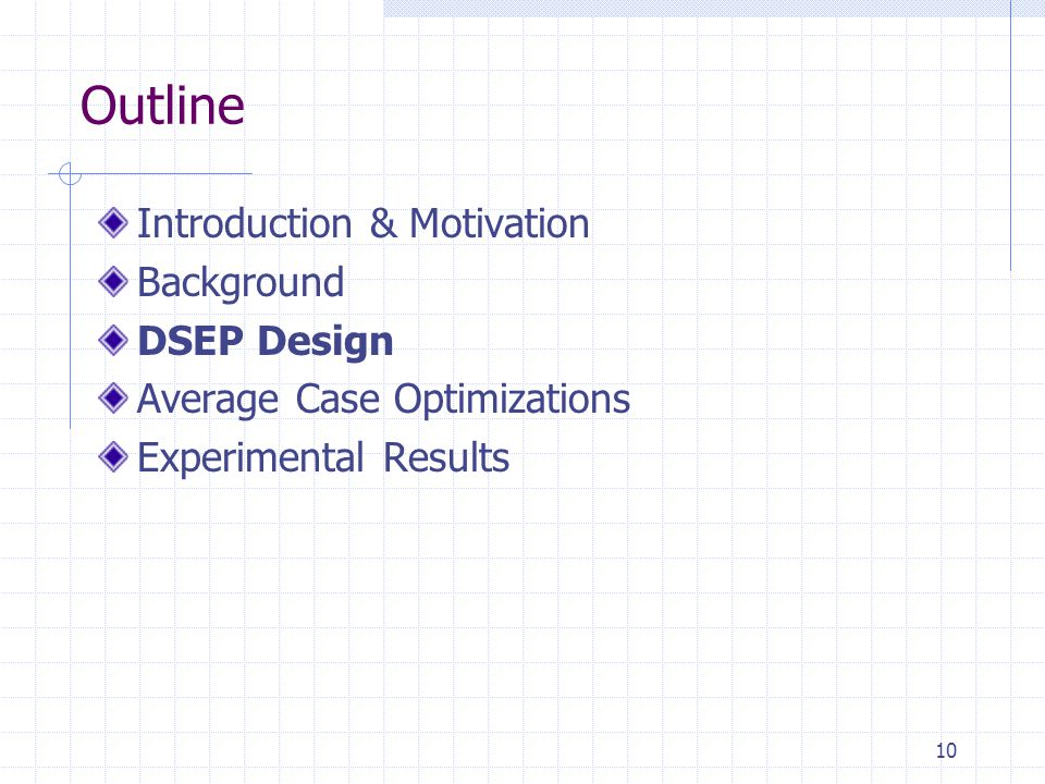 10 Outline Introduction & Motivation Background DSEP Design Average Case Optimizations Experimental Results